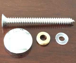 Self Drilling Screw set including SS304 screw, brass cap, brass washer, nylon washer