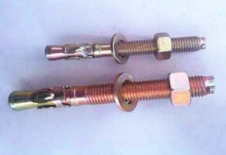 Zinc plated wedge anchor with nuts